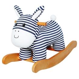 Labebe Baby hölzernes Schaukelpferd Streifen-Esel, Jungen & Mädchen Kleinkind SchaukelnReiten-auf Spielzeug für 1-3 Jahre alt, Gefüllter Tier Sitz, ASTM / CE / CE Sicherheit zertifiziert, kreatives Geburtstagsgeschenk - 1